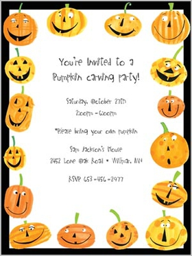 This uniquely colorful card with Halloween design has smiling and laughing pumpkins all around the border.  Great for a Jack-o-lantern carving party or Halloweeng trick or treating!<p>Premium quality white cardstock and includes a white envelope.  Inkjet/laser compatible and available blank or personalized.</p>