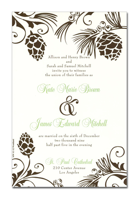 This invitation is part of the fabulous Mindy Weiss collection. It is decorated along all corners with rich pinecones dangling from their evergreen branches.<p>A Great Fall Design, printed only on premium fine quality 80 lb. card stock. Available either blank or personalized. Includes Ivory envelope.</p>