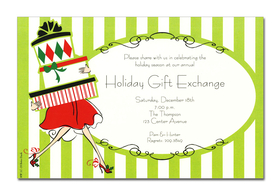 This invitation is part of the fabulous Mindy Weiss collection. A Great and trendy holiday Shopping theme, printed only on premium fine quality 80 lb. card stock. Available either blank or personalized. Includes Ivory envelope.