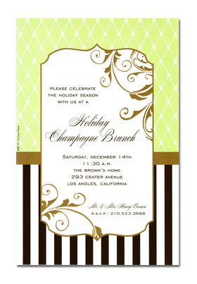 This invitation is part of the fabulous Mindy Weiss collection. A simple Lite green and Chocolate Design, printed only on premium fine quality 80 lb. card stock. Available either blank or personalized. Includes Ivory envelope.