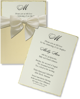 <B> TEMP OUT OF STOCK </B><br><br>This elegant gold pocket invitation with <br>ecru ribbon has a ecru linen insert with gold edging.  It is a gorgeous choice for a formal event like a wedding, anniversary, or first holy communion. <p>Paper is a high quality linen 80 # card stock.  Price includes coordinating envelope.  You can purchase these blank or we can print them for you.</p>