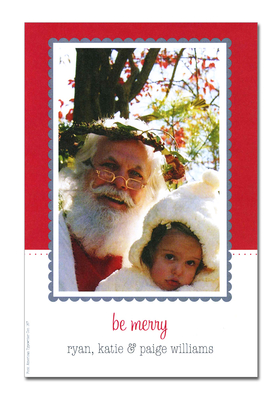 Holiday photo cards accommodate 4&quot;x6&quot; or 3.5&quot;x5&quot; photos, horizontally or vertically. Available either blank or personalized. White envelopes are included.  Text &quot;Be Merry&quot; is pre-written on card. <br><p><b>PLEASE NOTE, THIS IS A FLAT CARD THAT DOES NOT OPEN AND HAS LIMITED SPACE FOR GREETING AND PERSONALIZATION.