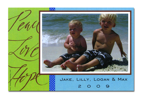 "Holiday photo cards accommodate 4""x6"" or 3.5""x5"" photos, horizontally or vertically. Available either blank or personalized. White envelopes are included.  Text ""Peace Love Hope"" is pre-written on card. <br><p><b>PLEASE NOTE, THIS IS A FLAT CARD THAT DOES NOT OPEN AND HAS LIMITED SPACE FOR GREETING AND PERSONALIZATION."