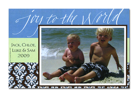 Holiday photo cards accommodate 4&quot;x6&quot; or 3.5&quot;x5&quot; photos, horizontally or vertically. Available either blank or personalized. White envelopes are included.  Text &quot;Joy to the world&quot; is pre-written on card. <br><p><b>PLEASE NOTE, THIS IS A FLAT CARD THAT DOES NOT OPEN AND HAS LIMITED SPACE FOR GREETING AND PERSONALIZATION.