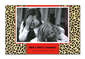 Holiday photo cards accommodate 4&quot;x6&quot; or 3.5&quot;x5&quot; photos, horizontally or vertically. Available either blank or personalized. White envelopes are included.   <br><p><b>PLEASE NOTE, THIS IS A FLAT CARD THAT DOES NOT OPEN AND HAS LIMITED SPACE FOR GREETING AND PERSONALIZATION.