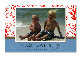 Holiday photo cards accommodate 4&quot;x6&quot; or 3.5&quot;x5&quot; photos, horizontally or vertically. Available either blank or personalized. Ivory envelopes are included.  <br><p><b>PLEASE NOTE, THIS IS A FLAT CARD THAT DOES NOT OPEN AND HAS LIMITED SPACE FOR GREETING AND PERSONALIZATION.