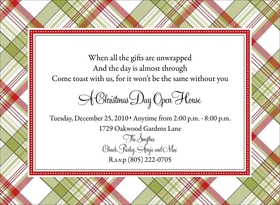 Great Plaid patterned invitation.  Digitally printeded on premium 100# cardstock.  Personalization can be a maximum of 9 lines.  Includes white envelope.