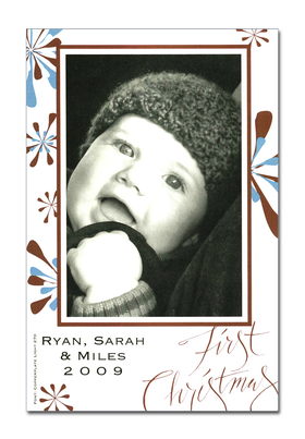 "Holiday photo cards accommodate 4""x6"" or 3.5""x5"" photos, horizontally or vertically. Available either blank or personalized. Ivory envelopes are included.  Text ""First Christmas"" is pre-written on card. <br><p><b>PLEASE NOTE, THIS IS A FLAT CARD THAT DOES NOT OPEN AND HAS LIMITED SPACE FOR GREETING AND PERSONALIZATION."