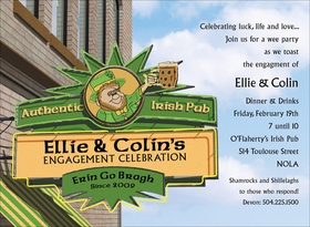 An Irish pub for drinking and fun on St. Patricks Day!  Customize this invitation with your own information and well digitally print it right into the sign!<p>Bright and vivid Irish themed invitation.  Digitally printeded on premium 100# cardstock.  Includes white envelope.</p>