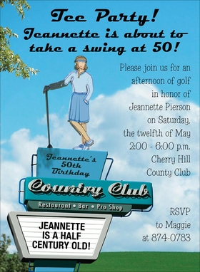 Bright and vivid ladies golf themed invitation.  Digitally printeded on premium 100# cardstock.  Personalization can be a maximum of 9 lines.  Includes white envelope.