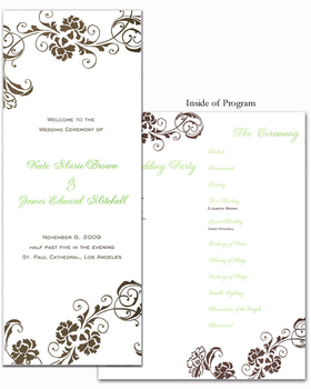 This is a Program style invitation.  This program has a simple but elegant design on the front and back and striped lines on the bottom of all sides-including inside of program.   Personalization price includes printing on all 4 sections of program.  When writing personalization please indicate page Break for each page of text.  You can also purchase this blank and print it on your own personal printer.