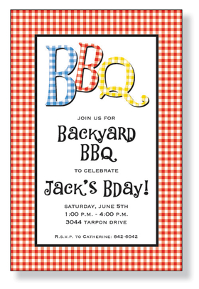 "This funky summer invitation is decorated with a red and white checkered border.  The letters ""BBQ"" are dancing across the top in matching blue, red, and yellow checkers.  Its a great choice for a summer barbecue!<p>A trendy checkered barbecue invitation printed only on premium fine quality 80 lb. card stock. Available either blank or personalized. Includes white envelope.</p>"