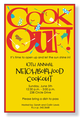 "A bright summer invitation!  This cardstock invite is decorated with the words ""Cook Out!"" in bold red against a yellow background.  Its garnished with barbecue utensils, to make the theme complete!<p>A fun BBQ themed invitation printed only on premium fine quality 80 lb. card stock. Available either blank or personalized. Includes white envelope.  the text ""Cook Out"" cannot be changed.</p>"