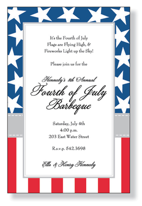 This border invitation is decorated with white stars against a blue background on the top, and red and white stripes on the bottom.  Its a classic flag design for a patriotic event like Independence Day!<p>A fun 4th of July themed invitation printed only on premium fine quality 80 lb. card stock. Available either blank or personalized. Includes white envelope. </p>