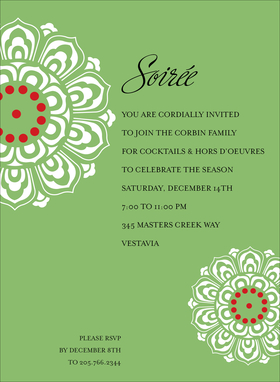 For a modern and trendy twist on the holidays, our Holiday Medallion invitation is a wonderful way to let your friends and family know the details of your holiday event. Featuring a field of green with a large medallion at the top and a smaller one at the bottom, your text is showcased in a current and contemporary way.<br>This invitation can take up to 9 lines of personalization.   This Item cannot be purchased blank.  Includes white envelope.