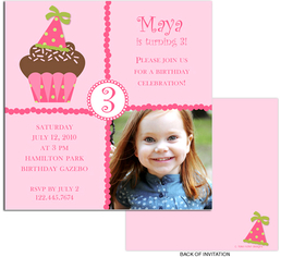 Fun and Simple pink and polka dot cupcake design digital photo card. printed on Premium #110 Cardstock. Printing of basic design on both sides of invitation but only able to print personalization on front. <p><b>DETAILS:</B><li>Your personalized text printed as shown in sample</li><li>Upload your digital photo which is professionally printed on paper specified.</li><li>Photo can be printed in black/white, color or sepia tone. Specify at time of order. Image must be a minimum of 300dpi in .jpg  format. </li><li>Includes white envelope.  <b>NOTE:  Additional postage is required for square envelopes.</b>