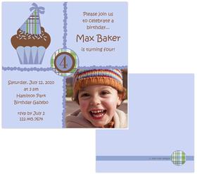 Fun and Simple blue cupcake design digital photo card. printed on Premium #110 Cardstock. Printing of basic design on both sides of invitation but only able to print personalization on front. <p><b>DETAILS:</B><li>Your personalized text printed as shown in sample</li><li>Upload your digital photo which is professionally printed on paper specified.</li><li>Photo can be printed in black/white, color or sepia tone. Specify at time of order. Image must be a minimum of 300dpi in .jpg  format. </li><li>Includes white envelope.  <b>NOTE:  Additional postage is required by post office for square envelopes.</b>