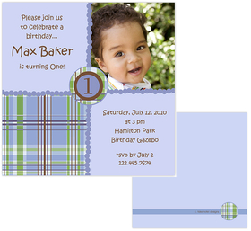 Fun and Simple blue plaid design digital photo card. printed on Premium #110 Cardstock. Printing of basic design on both sides of invitation but only able to print personalization on front. <p><b>DETAILS:</B><li>Your personalized text printed as shown in sample</li><li>Upload your digital photo which is professionally printed on paper specified.</li><li>Photo can be printed in black/white, color or sepia tone. Specify at time of order. Image must be a minimum of 300dpi in .jpg  format. </li><li>Includes white envelope.  <b>NOTE:  Additional postage is required for square envelopes.</b>* We can print any number in the center of the invitation.
