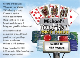 Its time for poker party and our invitation by Anthony Ross is perfect for the high roller in your life. Digitally printeded on premium 100# cardstock.  Personalization can be a maximum of 9 lines.  Includes white envelope.