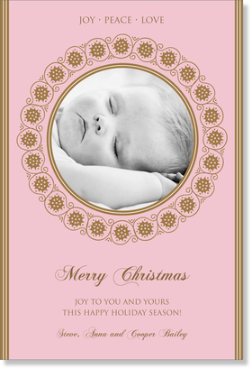 This Classic Design makes a great holiday card!  Personalization text comes in gold and pink printed on 100# card stock. <B> Card can occupy a maximum of 3 lines of text</B>.  Please indicate if you would like &quot;Merry Christmas&quot; on card.  Printed on 100% recycled paper.