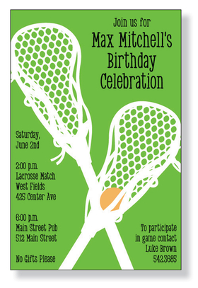 A Lacrosse themed invitation printed only on premium fine quality 80 lb. card stock. Available either blank or personalized. Includes white envelope.