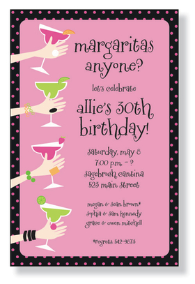 A Margaritas themed invitation printed only on premium fine quality 80 lb. card stock. Available either blank or personalized. Includes white envelope.