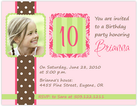 Fun and Simple Lime Polka Dot design digital photo card. printed on Premium #110 Cardstock. Printing of basic design on both sides of invitation but only able to print personalization on front. <p><b>DETAILS:</B><li>Your personalized text printed as shown in sample</li><li>Upload your digital photo which is professionally printed on paper specified.</li><li>Photo can be printed in black/white, color or sepia tone. Specify at time of order. Image must be a minimum of 300dpi in .jpg  format. </li><li>Includes white envelope.