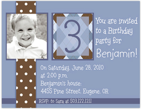 Fun and Simple  Polka Dot design digital photo card. This is a smaller Note size invitation card.  printed on Premium #110 Cardstock. Printing of basic design on both sides of invitation but only able to print personalization on front. <p><b>DETAILS:</B><li>Your personalized text printed as shown in sample</li><li>Upload your digital photo which is professionally printed on paper specified.</li><li>Photo can be printed in black/white, color or sepia tone. Specify at time of order. Image must be a minimum of 300dpi in .jpg  format. </li><li>Includes white envelope.
