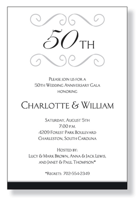 This elegant invitation is decorated with silver scroll across the top with space for your personalized monogram, which can be letters, numbers, or even a name.  The bottom border is a black stripe, completing the timeless theme. <p>A classic themed invitation printed only on premium fine quality 80 lb. card stock. Available either blank or personalized. Includes white envelope.</p>