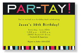 A fun themed invitation printed only on premium fine quality 80 lb. card stock. Available either blank or personalized. Includes white envelope.