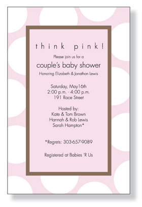 A fun pink baby themed invitation printed only on premium fine quality 80 lb. card stock. Available either blank or personalized. Includes white envelope.