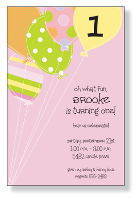 A fun pink birthday themed invitation printed only on premium fine quality 80 lb. card stock. Available either blank or personalized. Includes white envelope.