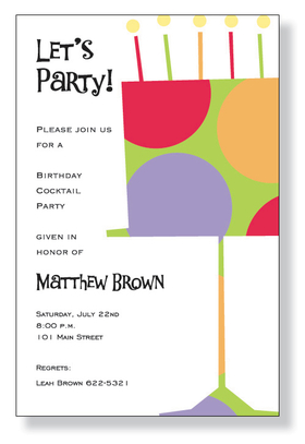 A cake themed invitation printed only on premium fine quality 80 lb. card stock. Available either blank or personalized. Includes white envelope.