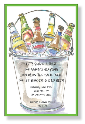 "This relaxed invitation is decorated with a bucket of iced beer bottles.  Get your guests in the mood for a backyard barbecue or cook out with this invitation!<p>A fun Drink themed invitation printed only on premium fine quality 80 lb. card stock. Available either blank or personalized. Includes white envelope.  the text ""Cook Out"" cannot be changed.</p>"