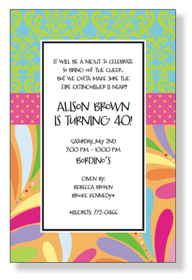 A fun birthday themed invitation printed only on premium fine quality 80 lb. card stock. Available either blank or personalized. Includes white envelope.