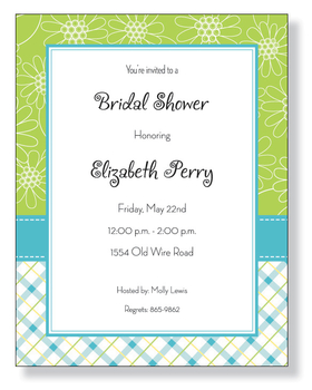 This adorable laser paper is decorated with green dasies and a sweet blue plaid design.  Its great for a spring bridal shower, Easter, or a springtime birthday.<p>Make an impression with our colorful and trendy 8 ½&quot; x 11&quot; designer paper. Premium 80# paper weight. Easy to print on your inkjet or laser printer. You wont find premium quality paper like this at your local store. Coordinating envelopes are available. Envelopes are sold separately.</p>