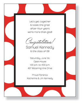 A bold laser paper with bright white dots on a brilliant red border.  Its great for any event, from bachelorette parties to Valentines Day!<p>Make an impression with our colorful and trendy 8.5&quot; x 11&quot; designer paper. Premium 80# paper weight. Easy to print on your inkjet or laser printer. You wont find premium quality paper like this at your local store. Envelopes are sold separately.</p>