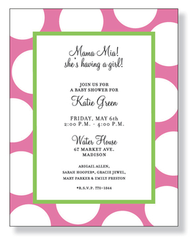 The colors of spring in a modern design!  This stationery paper is decorated with jumbo, bright white dots against a pink background with a soft green border.  Its great for Springtime, baby showers, and even birtdays.<p>Make an impression with our colorful and trendy 8 ½&quot; x 11&quot; designer paper. Premium 80# paper weight. Easy to print on your inkjet or laser printer. You wont find premium quality paper like this at your local store. Envelopes are sold separately.</p>