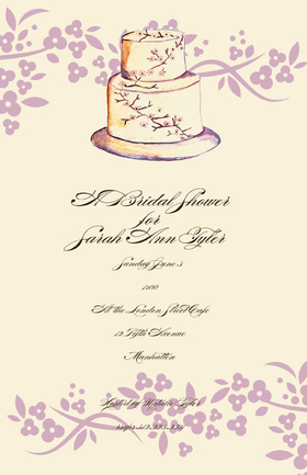 This fun Ivory and Lavender Cake design 5.5x 8.5 invitation is comes personalized or you can get the blank and personalize them.   these cards are printed on FSC-certified Domtar Earth Family of papers and are acid free. coordinating envelopes included.