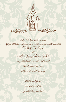 This Simple and elegant Wedding Chapel themed 5.5x 8.5 invitation  comes personalized or you can get the blank and personalize them.   these cards are printed on FSC-certified Domtar Earth Family of papers and are acid free. coordinating envelopes included.