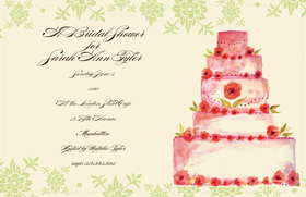 This Simple and elegant Wedding Cake themed 5.5x 8.5 invitation  comes personalized or you can get the blank and personalize them.   these cards are printed on FSC-certified Domtar Earth Family of papers and are acid free. coordinating envelopes included. This invitation has the option of adding glitter embelishment.