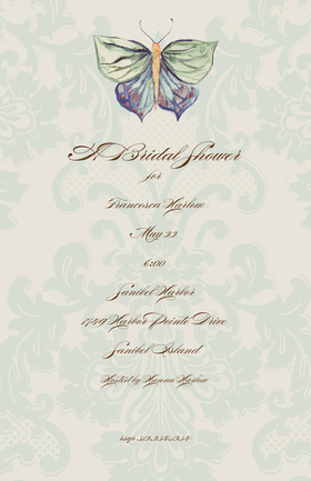 An elegant butterfly themed  5.5x 8.5 invitation can be purchased blank or personalized. Printed on FSC-certified Domtar Earth Family of papers and are acid free. coordinating envelopes included.  This invitation has the option of an upgraded glitter embellishment.