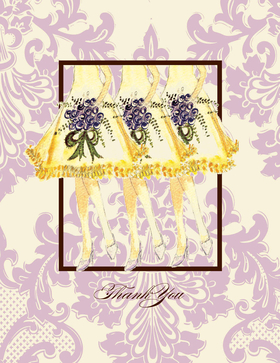 "elegant  Orchid themed response card .  This note card comes blank or we can personalize it with name or ""ThankYou"" on the front only.  These cards are printed on FSC-certified Domtar Earth Family of papers and are acid free. coordinating envelopes included."