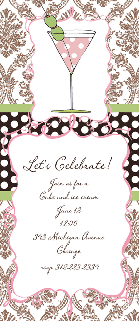 <B> ON SALE! 100 AVAILABLE!</B><br><br>A fun invitation decorated with a chocolate damask background and a pink polka dot cocktail!  Its a great way to celebrate a bachelorette party or host a cocktail party.<p>This fun 4x9.25 invitation comes  blank or let us print them for you. Cards come with optional embellishment. Please indicate in order if you would like Glitter added. Coordinating color envelopes are included.</p>