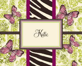 "This stylish butterfly note card can be purchased blank or personalized with one line of text on the front, such as a name or ""thank you"". Envelopes are included."