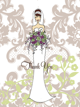 "Stylish fold over note card features a stunning bride against an elegant taupe patterned background.  This item can be purchased blank or personalized with one line of text, such as name or ""thank you"" on the front. Envelopes are included. Embellish the flowers with glitter for an additional .30 cents per card."