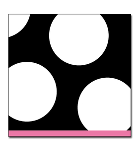 Complete your event with this Trendy polka dot design! 25cm x 25cm. Blank and white with pink border. Coordinating products available, but sold seperately.