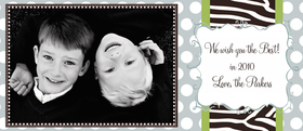 Bring out the wild side to your holiday photos!  This fun photo card has a pale blue polka dot background and a zebra striped band that goes in the center of your personalized holiday greeting.  This fun photo card is designed to hold your 3.5&quot;x5&quot; print (either horizontally or vertically) and has a fun framed space for printing your personal message and signature.<br>Photo card comes : <br><b>*Blank</b><br><b>*personalization-specify portrait or landscape</b> <br>