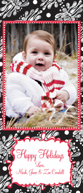 This fun 9.5 X 4 attachable photo card is great for the holiday season! Holds a 3.5 X5 Photo.<br>Photo card comes : <br><b>*Blank</b><br><b>*personalization-specify portrait or landscape</b> <br>