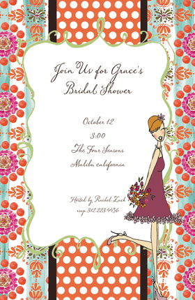 Celebrate your special event with a little style. This colorful invitation has a subtle Moroccan theme with a girl holding flowers. Its a great choice for a birthday or a bridal shower! This fun 5.5x 8.5 invitation is available blank or personalized. Glitter embellishment available. Coordinating envelope included.